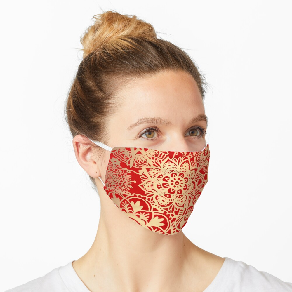 Red and Gold Mandala Pattern Mask
