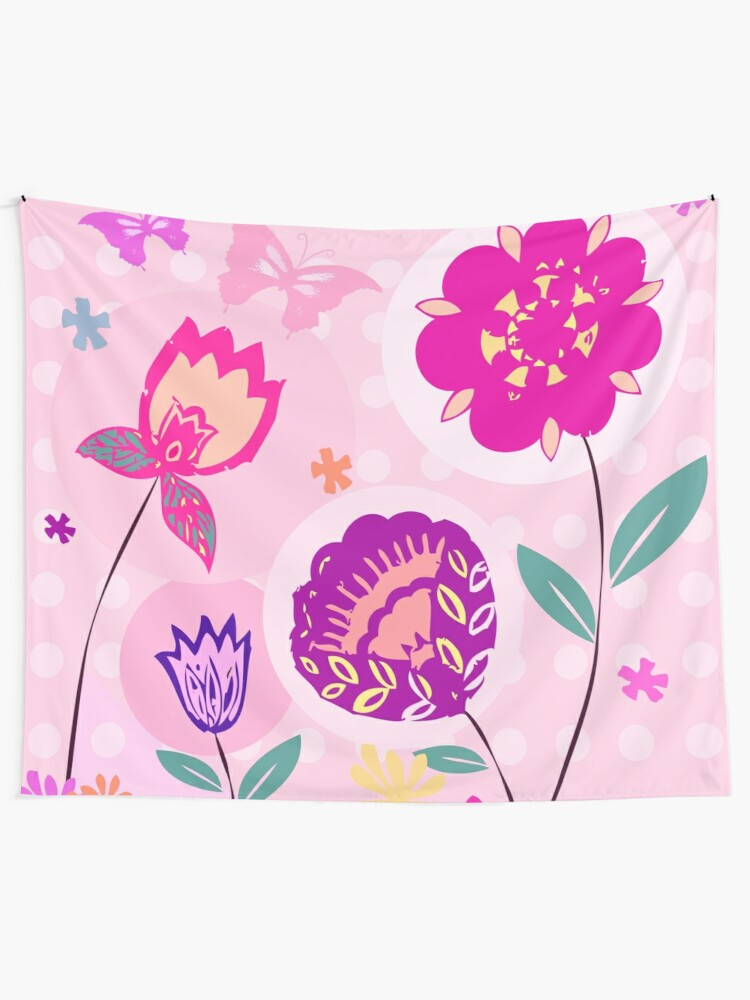 Alternate view of Hipster Flowers Pastel Floral Print Tapestry