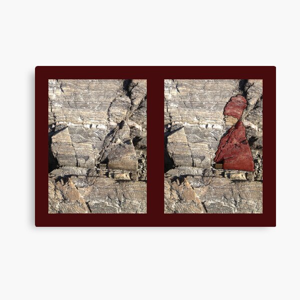 Grouchy Lady in Rocks Canvas Print