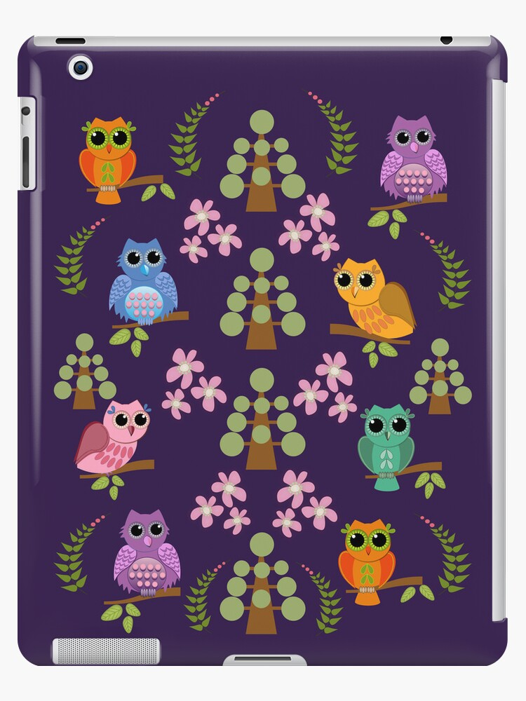 Cute owls, trees, flowers and leaves iPad mini case by walstraasart