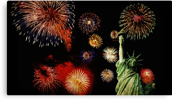 Fireworks by the Statue of Liberty 2 by MotionAge Media