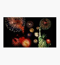 Fireworks by the Statue of Liberty 2 Photographic Print