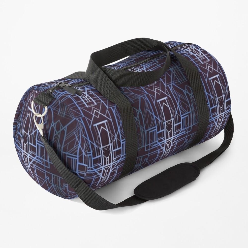 Geometric Deco in Blue Duffle Bag