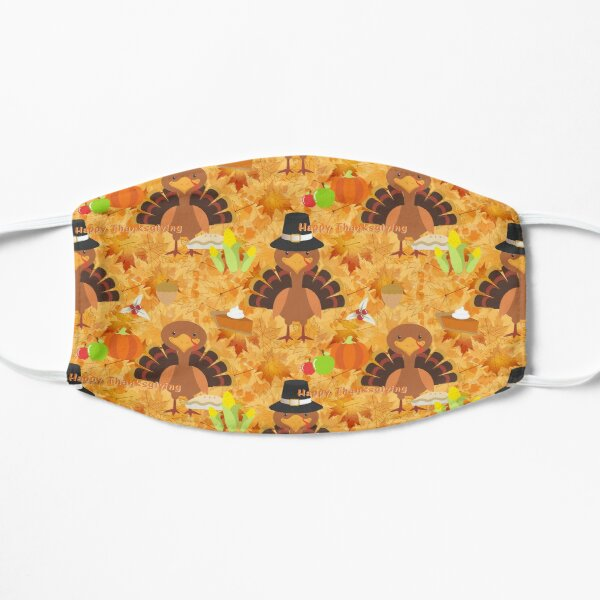 happy thanksgiving turkey  Flat Mask
