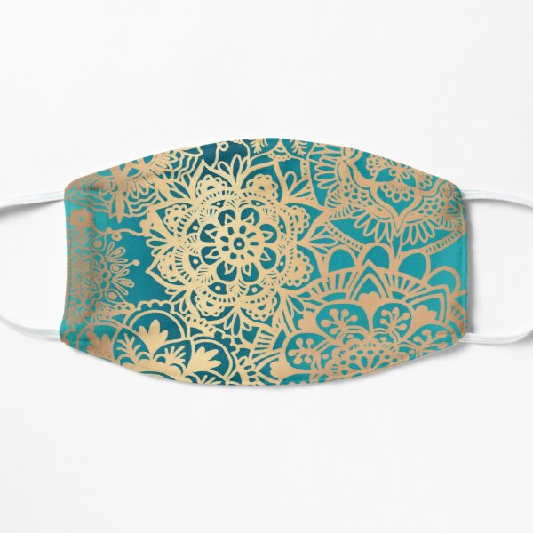 Teal Green and Gold Mandala Pattern Flat Mask