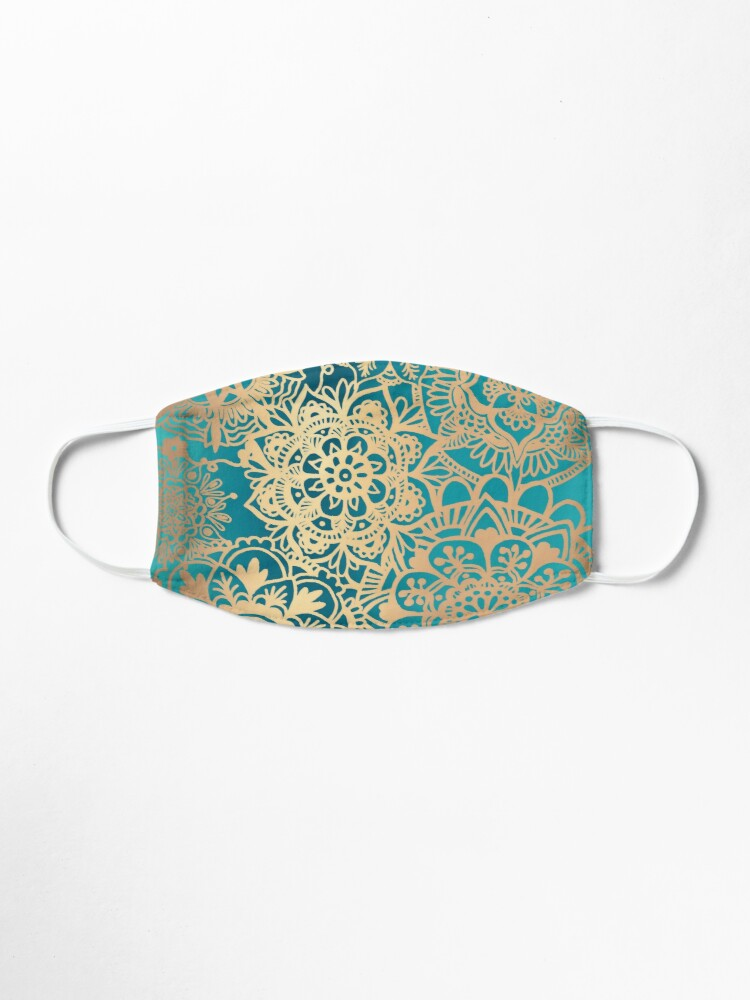 Alternate view of Teal Green and Gold Mandala Pattern Mask