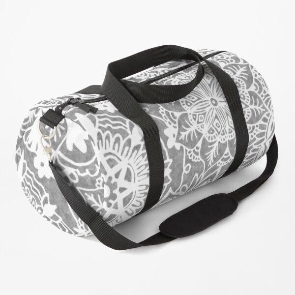 Soft Grey Mandala Pattern Duffle Bag