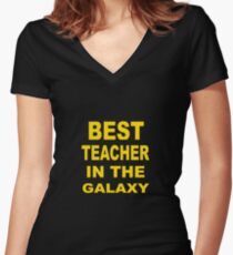 Best Teacher in the Galaxy Women's Fitted V-Neck T-Shirt