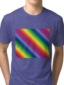 RAINBOW STRIPE bright bold colourful Tri-blend T-Shirt