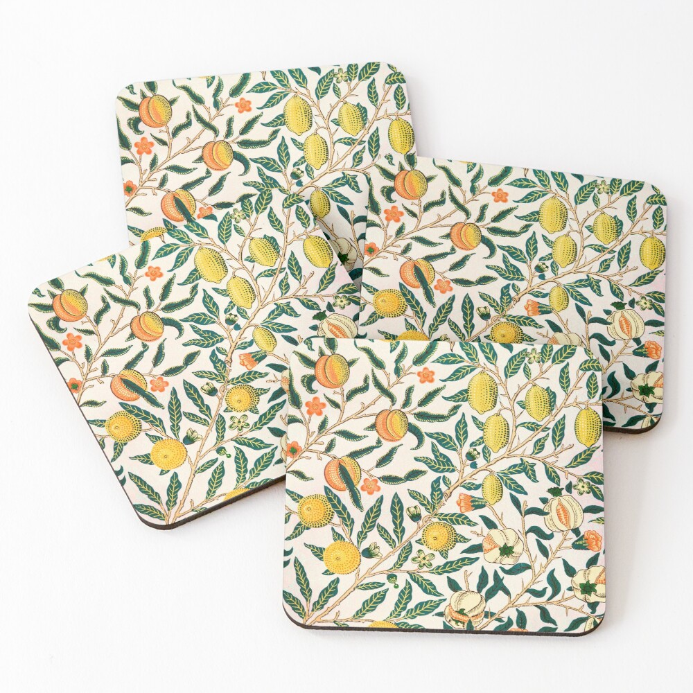 Fruit or Pomegranate by William Morris, 1865-66 Coasters (Set of 4)