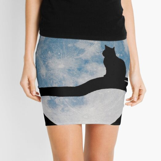 Cat infront of the moon Silhouette Mini Skirt