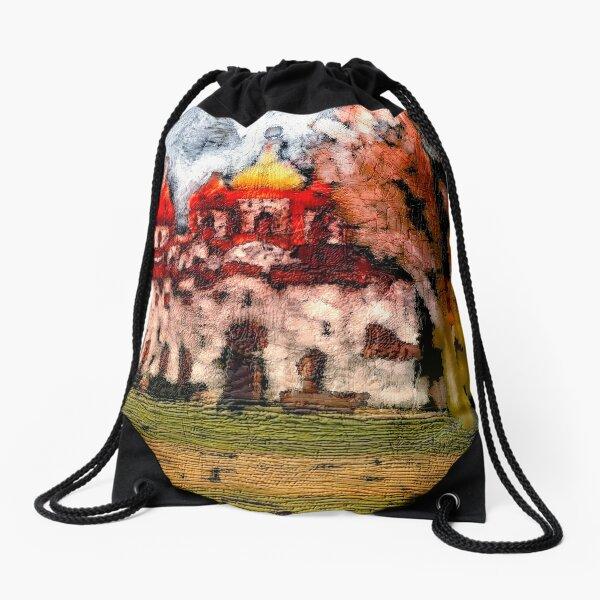 Colorful Abstract Cathedral Art Drawstring Bag