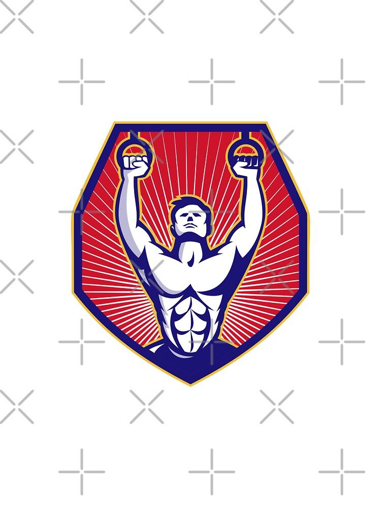 Crossfit Training Athlete Rings Retro  by retrovectors