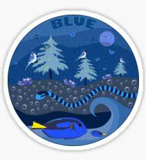 Blue Nature Scene Sticker