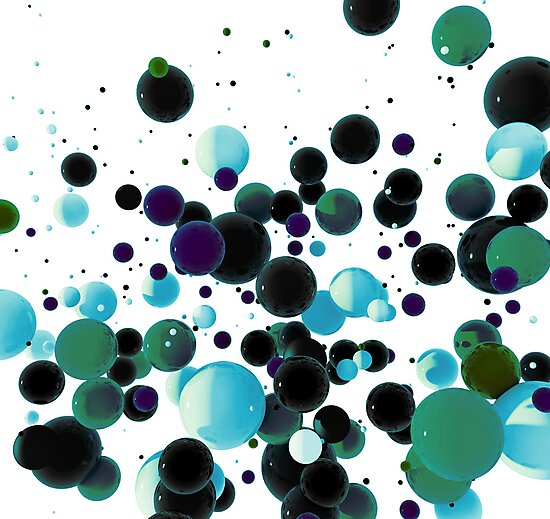 Abstract blue spheres floating in space by mikath