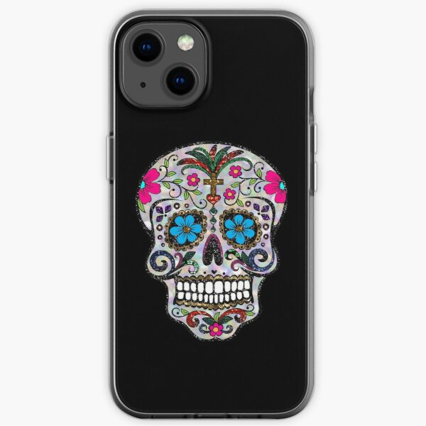 sequin print Sugar Skulls iPhone Soft Case