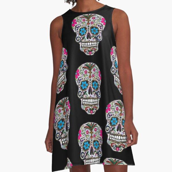 sequin print Sugar Skulls A-Line Dress