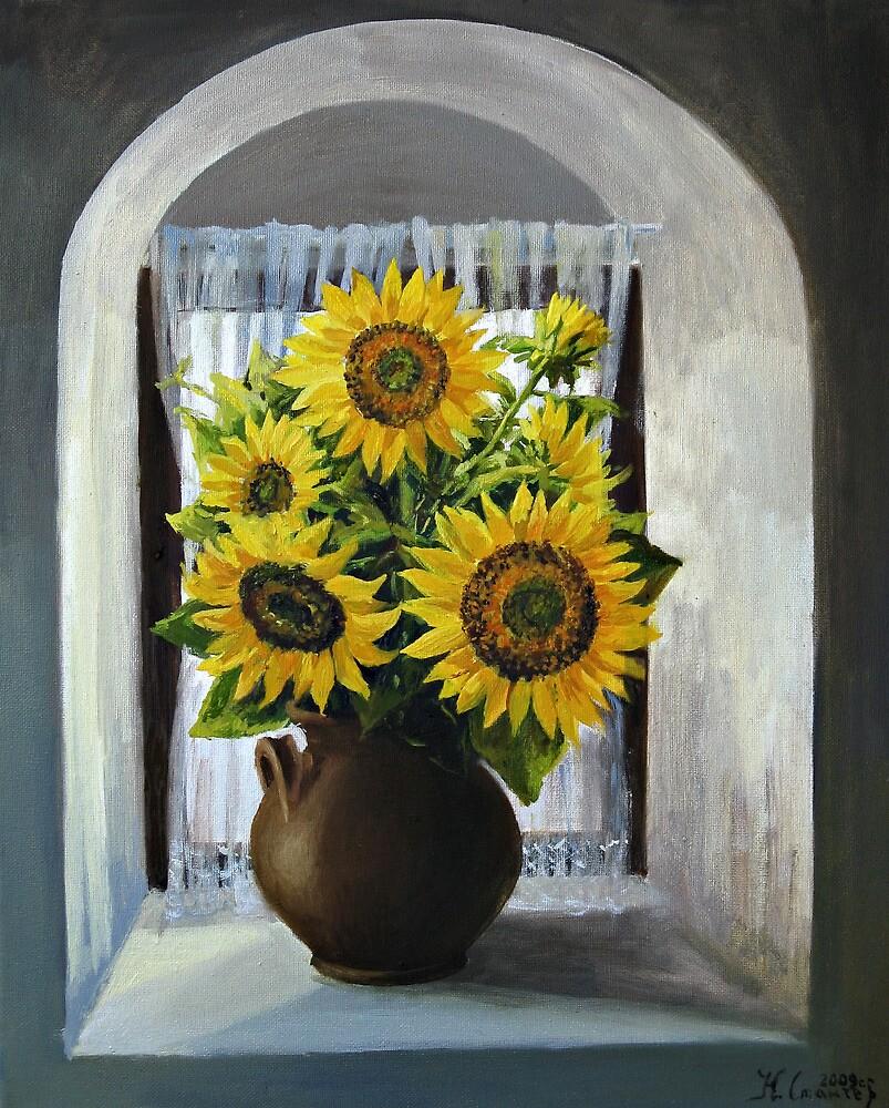 Sunflowers on The Window by kirilart