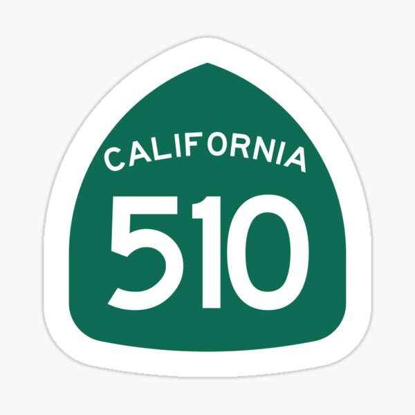 California State Route 510 (Area Code 510) Sticker
