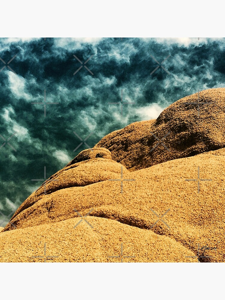Boulder Rock Troubled Sky Joshua Tree by neptuneimages