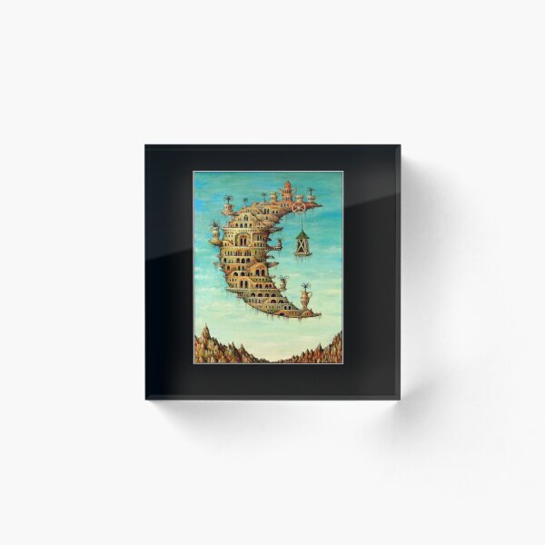 DALI : Vintage Living on the Moon Abstract Painting Print Acrylic Block