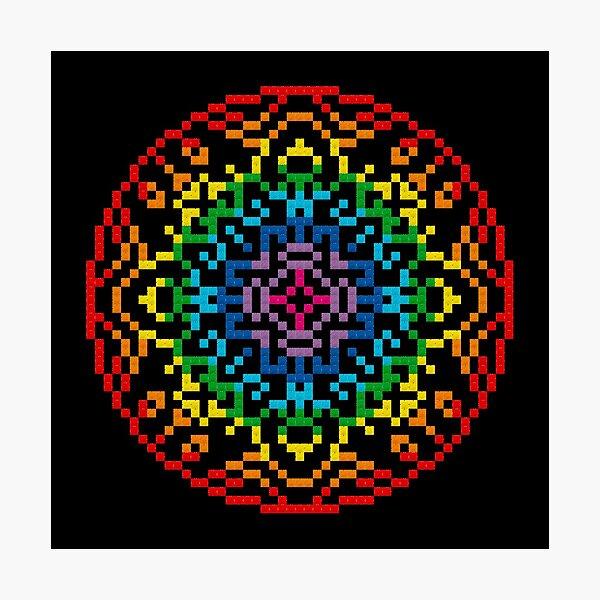Rainbow Mandala Cross Stitch Photographic Print