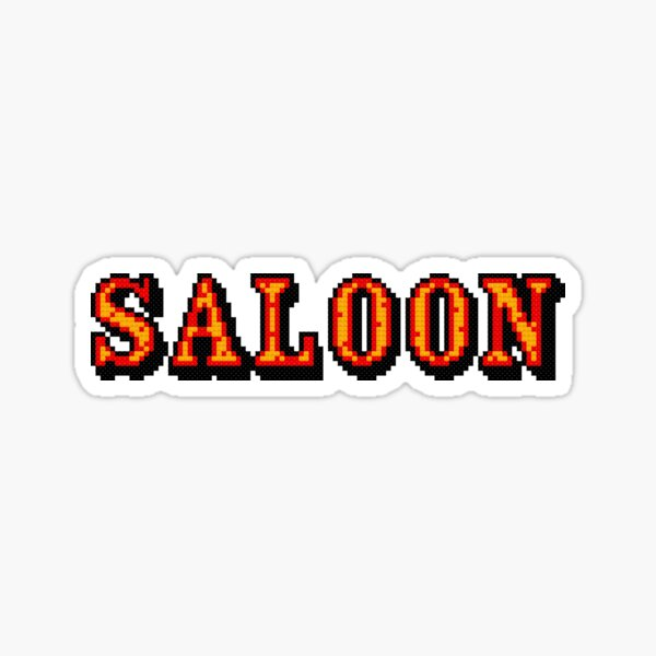 Pixelated Saloon Cross Stitch Sign Sticker