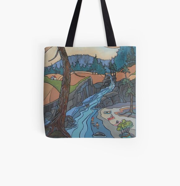 Art Nouveau/ Folk Fusion Summer at the River All Over Print Tote Bag