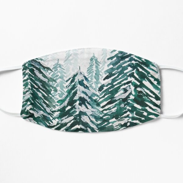 snowy pine forest green  Mask