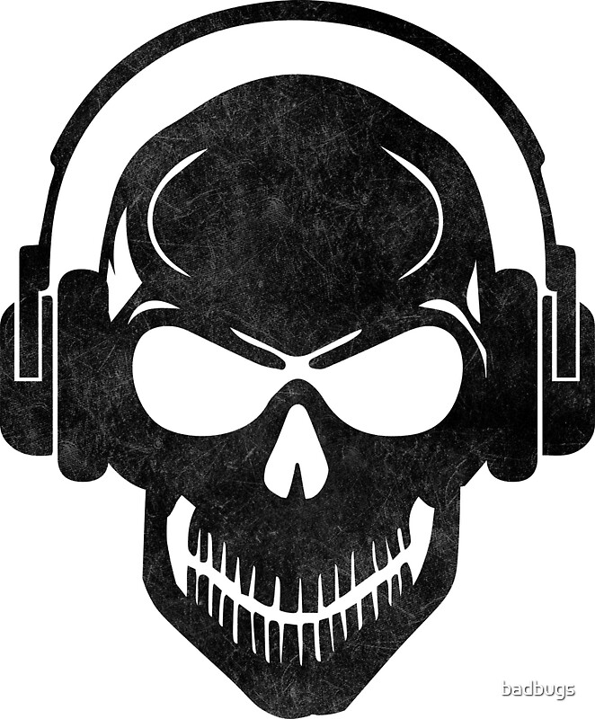 Quot Skull With Headphones Rave Electro Hardstyle