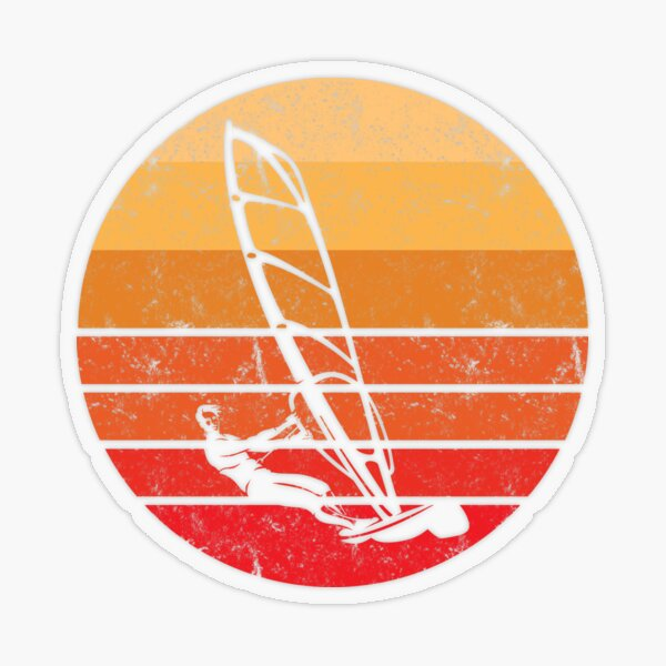 Coucher de soleil rétro Windsurf Sticker transparent