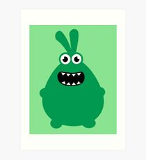 Crazy funny monsters in green Art Print