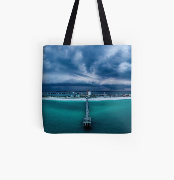 Panoramic Beach Storm All Over Print Tote Bag