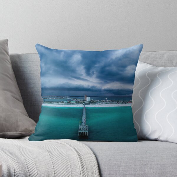 Panoramic Beach Storm Throw Pillow