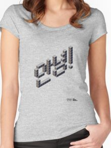 8-bit Annyeong! T-shirt (Black) Women's Fitted Scoop T-Shirt