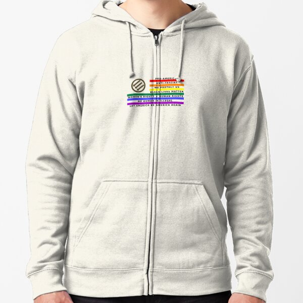 Resistance Is Patriotic, LGBQT Flag for Light Backgrounds Zipped Hoodie