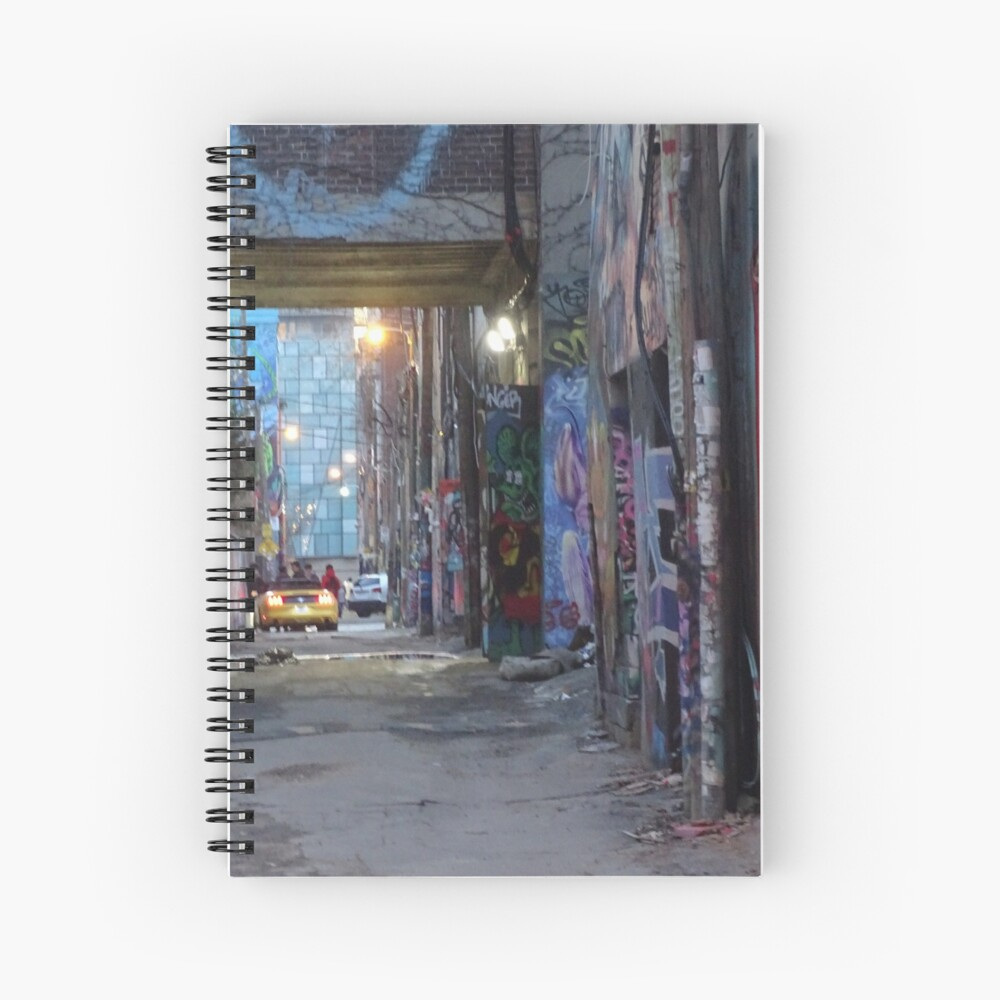 Graffiti alley toronto, City vibe,  Spiral Notebook