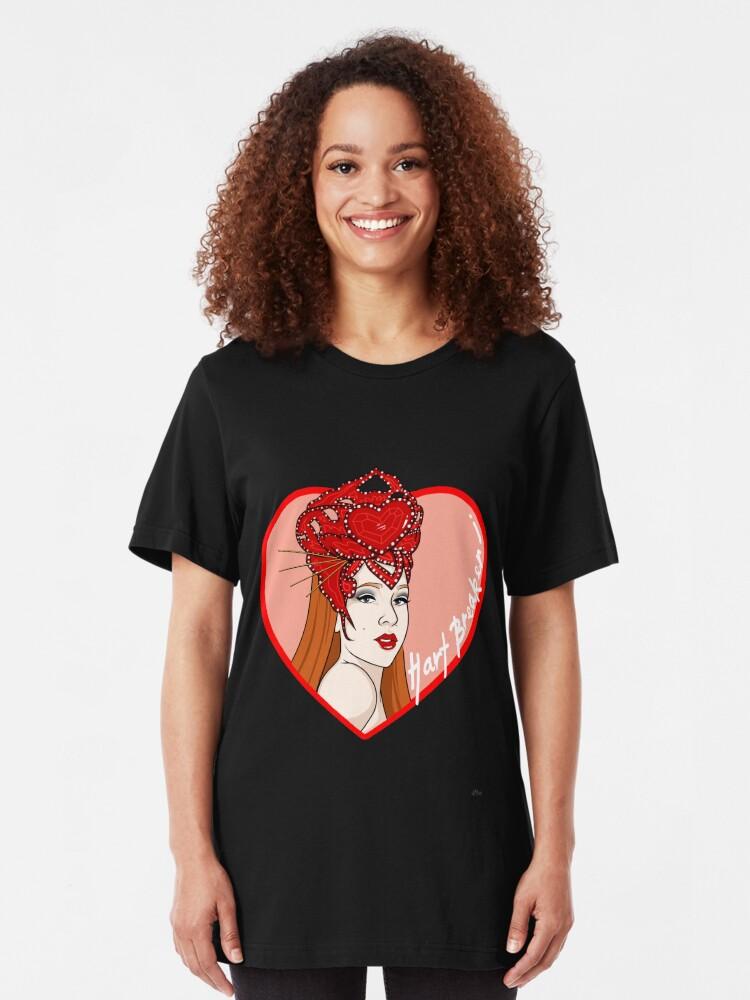 Alternate view of Hart Breaker - LadyHart Pin Up Print Slim Fit T-Shirt
