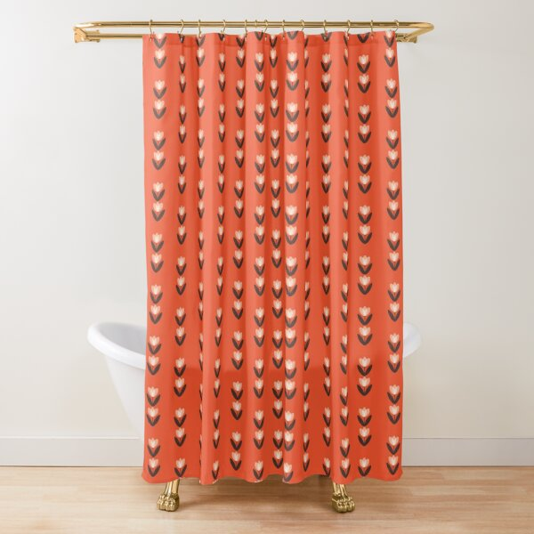Korallrot. Auch in Senfgelb erhältlich.  Ein niederländisches Mädchen sein Duschvorhang