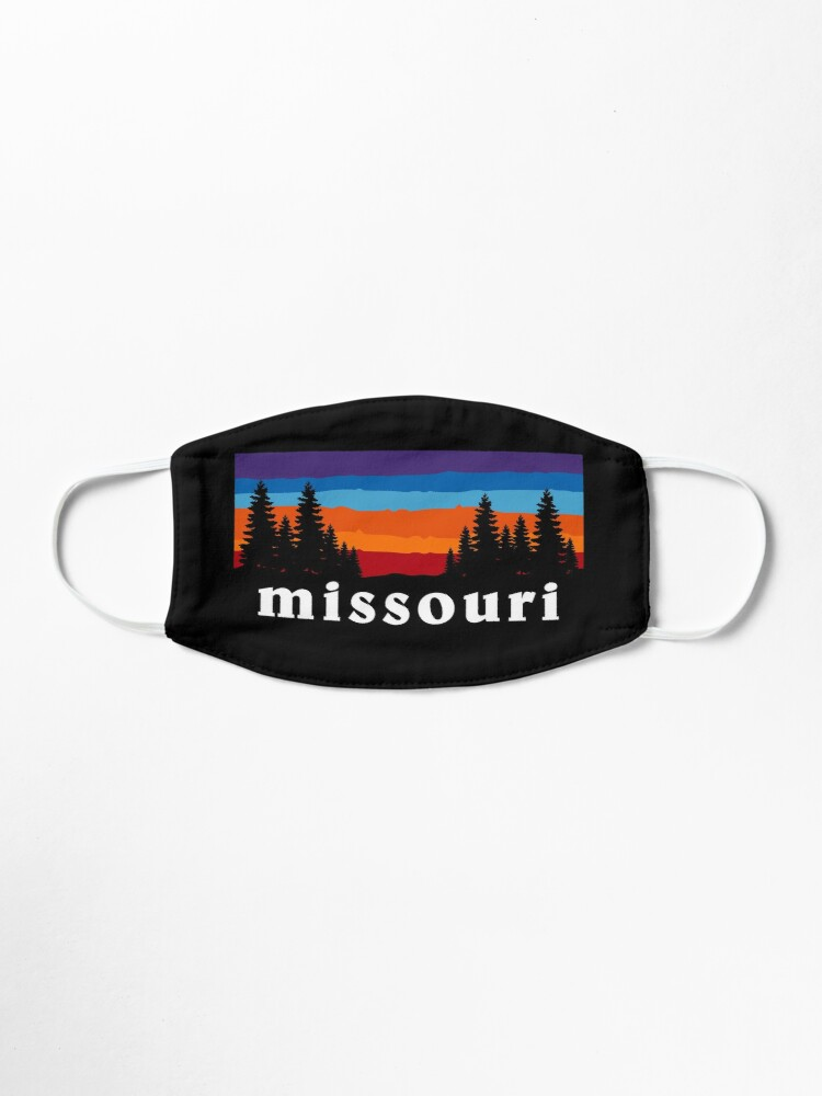 Alternate view of Missouri Forest Outdoor Hiking St. Louis Blues Kansas City State Flag Sunset Gift Ideas Mask