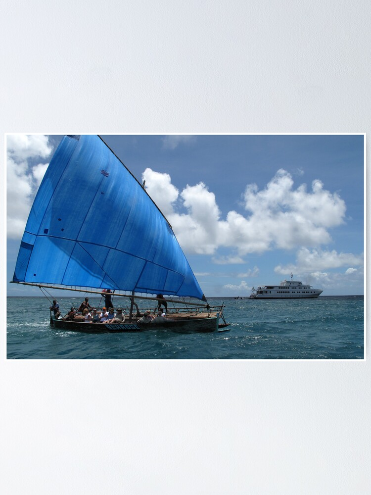 Alternate view of Sailing canoe at Nivani Isand Poster