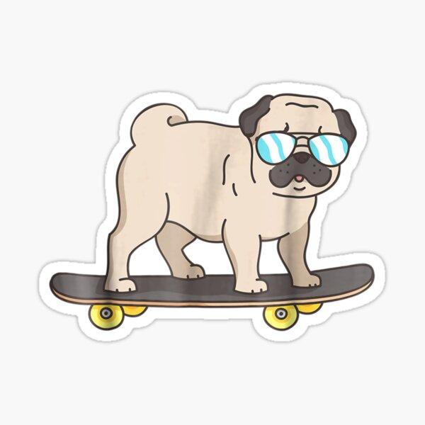Skateboarding Pug : Pug Dog on Skateboard Fun Dogs  Sticker