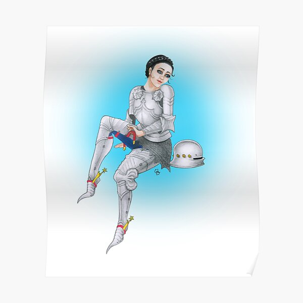 Gothic Knight Pin Up Girl (Blue) Poster
