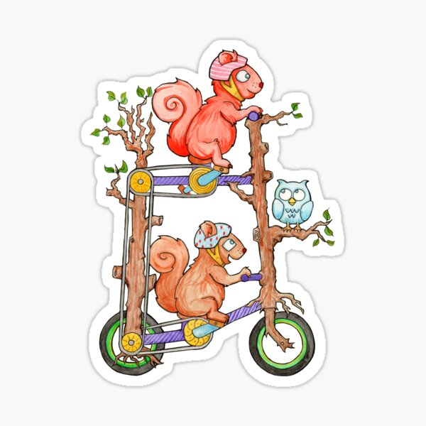 2 Squirrels on a Tall Bike Watercolor Sticker