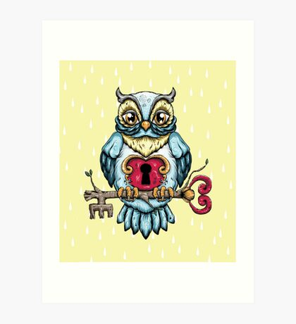 Owl With Key Art Print