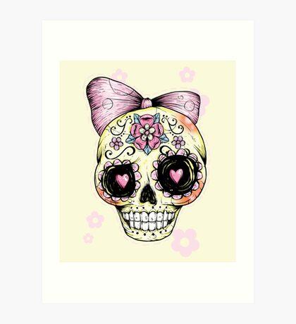 Yellow Sugar Skull Art Print