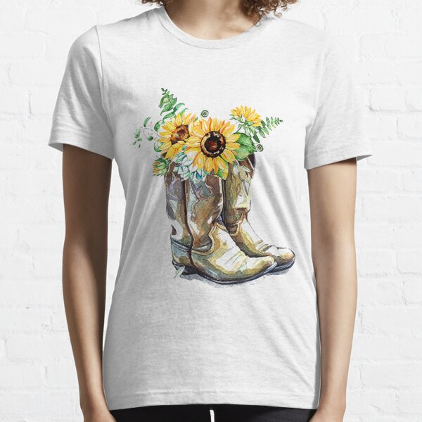 Cowgirl Sunflower Boots For Woman  Essential T-Shirt