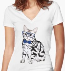 Hipster Cat Women's Fitted V-Neck T-Shirt