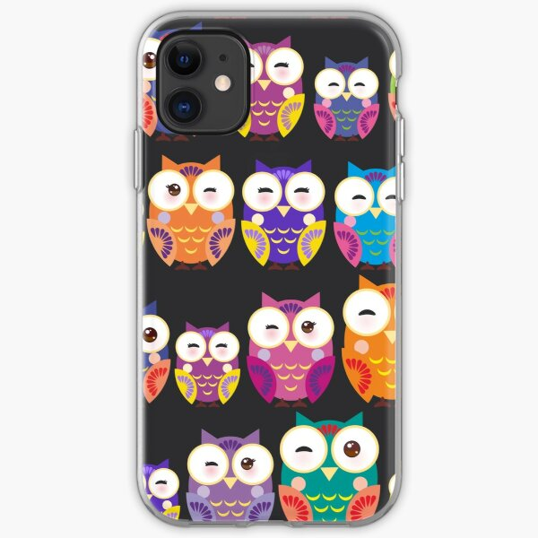 bright colorful owls on black background iPhone Soft Case