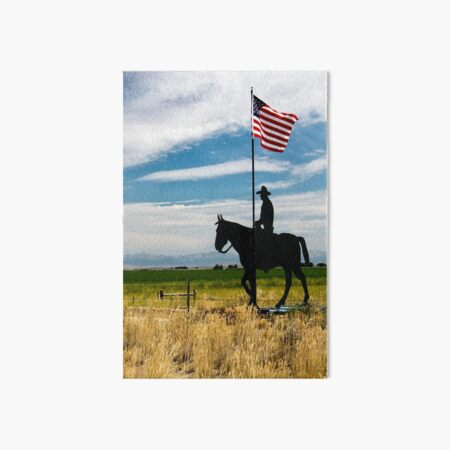 Cowboy on a Horse with American Flag Art Board Print